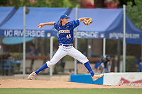 UC-Riverside Highlanders Cole Percival (45) delivers a pitch to the plate against the Cal Poly San Luis Obispo Mustangs at Riverside Sports Complex on May 26, 2018 in Riverside, California. The Cal Poly SLO Mustangs defeated the UC Riverside Highlanders 6-5. (Donn Parris/Four Seam Images)