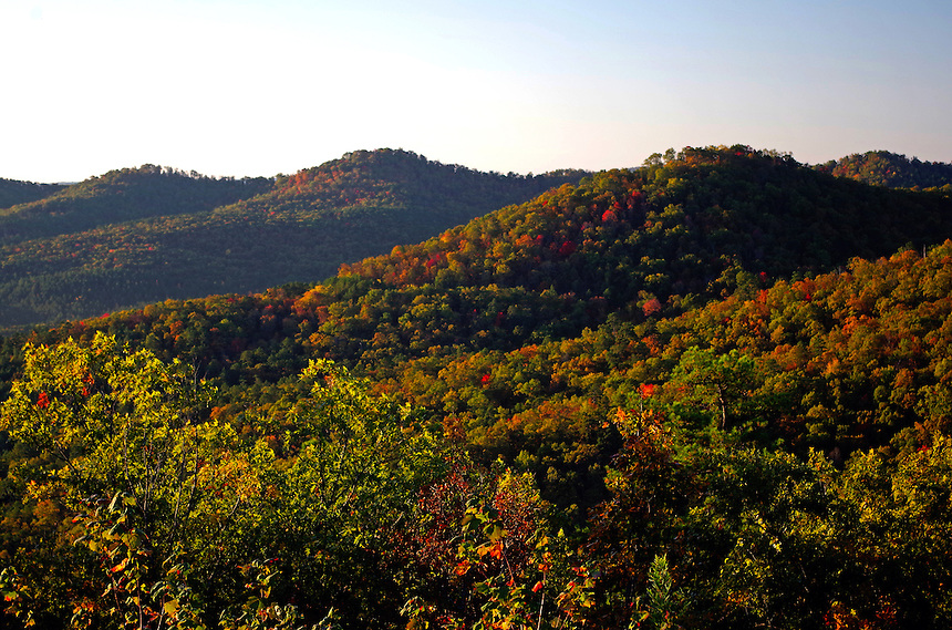 View of fall colors from Hickory Nut Mountain, Ouachita National Forest near Joplin, Arkansas