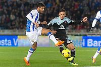 Real Sociedad's Carlos Vela (l) and Celta de Vigo's David Costas during La Liga match.November 23,2013. (ALTERPHOTOS/Mikel)