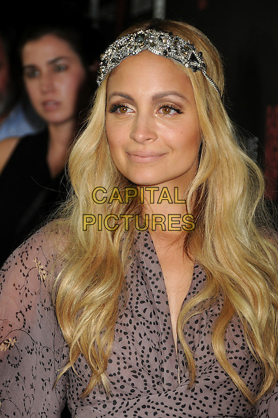 "Nicole Richie.""Fashion's Night Out"" Fashion Show Hosted by Nicole Richie held at The Beverly Center, Los Angeles, California, USA..September 8th, 2011.headshot portrait sheer purple print  silver headband beads beaded jewel encrusted embellished .CAP/ADM/BP.©Byron Purvis/AdMedia/Capital Pictures."