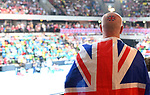 A British fan with a Union flag transfer on his head. Rubber 2. Great Britain v Kazakhstan. World group II play off in the BNP Paribas Fed Cup. Copper Box arena. Queen Elizabeth Olympic Park. Stratford. London. UK. 20/04/2019. ~ MANDATORY Credit Garry Bowden/Sportinpictures - NO UNAUTHORISED USE - 07837 394578