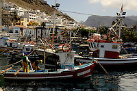 Boats at their moorings, Mogan harbour, Gran Canaria.