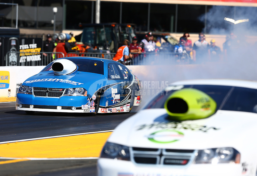 Jul. 26, 2013; Sonoma, CA, USA: NHRA pro stock driver Chris McGaha during qualifying for the Sonoma Nationals at Sonoma Raceway. Mandatory Credit: Mark J. Rebilas-
