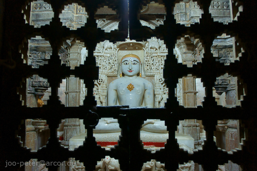 shrine of thirthankar, holy Jain teacher on backside of main shrine in Jain temple, Fort Jaisalmer, Rajastan, India
