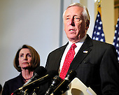 United States House Majority Leader Steny Hoyer (Democrat of Maryland) makes a statement following the meeting where U.S. House Democrats selected their leadership for the 112th Congress in Washington, D.C. on Wednesday, November 17, 2010.  Hoyer will serve as the U.S. House Democratic Whip in the new Congress.  At left is U.S. House Speaker Nancy Pelosi (Democrat of California), who will serve as Minority (Democratic) Leader in the new Congress..Credit: Ron Sachs / CNP