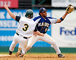 18 May 2006: Curt Smith,  a University of Maine Sophomore from Willemstad, Curacao, makes a play at second during a game against the University of Vermont Catamounts, at Historic Centennial Field, in Burlington, Vermont...Mandatory Photo Credit: Ed Wolfstein Photo..