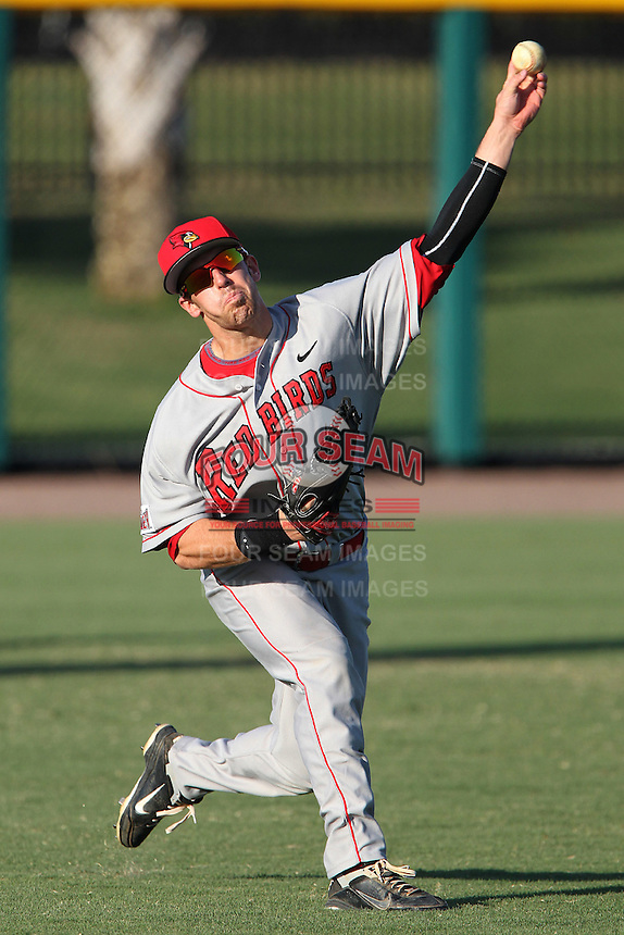 Illinois State Redbirds Ty Wiesemeyer #10 during practice before a game against the South Florida Bulls at the USF Baseball Complex on March 14, 2012 in Tampa, Florida.  South Florida defeated Illinois State 10-5.  (Mike Janes/Four Seam Images)
