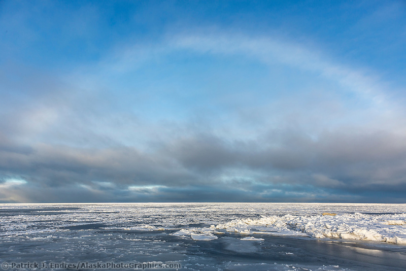 Ice bow over sea ice, Beaufort Sea, Arctic National Wildlife Refuge, Alaska.