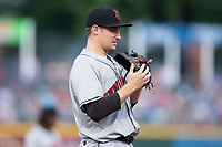 Indianapolis Indians third baseman Phil Gosselin (49) on defense against the Charlotte Knights at BB&T BallPark on June 16, 2017 in Charlotte, North Carolina.  The Knights defeated the Indians 12-4.  (Brian Westerholt/Four Seam Images)