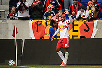 Thierry Henry (14) of the New York Red Bulls about to take a corner kick. The New York Red Bulls and Chivas USA played to a 1-1 tie during a Major League Soccer (MLS) match at Red Bull Arena in Harrison, NJ, on March 30, 2014.