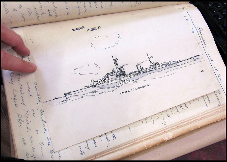 BNPS.co.uk (01202 558833)<br /> Pic: TWGaze/BNPS<br /> <br /> Pike's drawing of HMNZS Gambia - a RN ship on loan to the New Zealand navy.<br /> <br /> A forgotten account of a tragic incident just as WW2 was finally ending has emerged in the diaries of a British midshipman.<br /> <br /> The officer's log exposes a potential cover up over the deaths of five seamen who were apparently killed in the final salvos of World War Two.<br /> <br /> Midshipman John Pike wrote of how at the very moment the order to cease fire against Japan on August 15, 1945 came through his ship came under attack by a lone kamikaze aircraft.<br /> <br /> The dive bomber fired its machine guns at the quarterdeck of HMS Gambia, prompting the crew to scatter and the ship to fire its guns in retaliation.<br /> <br /> Moments later two American Corsair fighter planes arrived and shot the enemy plane out of the sky. <br /> <br /> With the danger cleared the crew of the navy cruiser gathered themselves and realised that five men had been killed by the machine gun fire.