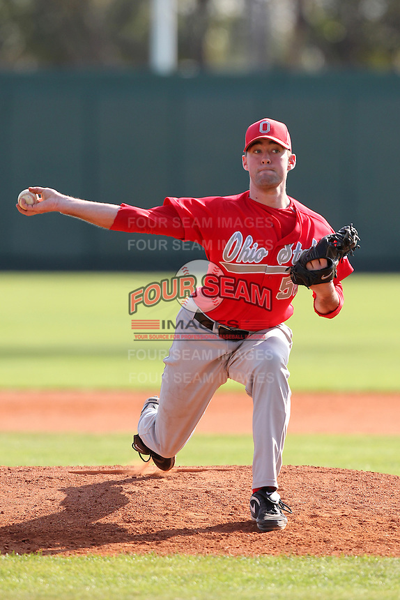 Pitcher Jared Strayer #50 of the Ohio State Buckeyes during the Big East-Big Ten Challenge vs. the Cincinnati Bearcats at Al Lang Field in St. Petersburg, Florida;  February 18, 2011.  Cincinnati defeated Ohio State 11-5.  Photo By Mike Janes/Four Seam Images