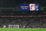 The scoreboard shows its tribute to Netherland's legend Johan Cruyff during the International friendly match at Wembley.  Photo credit should read: David Klein/Sportimage