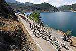 The peloton in action during Stage 14 of the La Vuelta 2018, running 171km from Cistierna to Les Praeres, Nava, Spain. 8th September 2018.<br /> Picture: Unipublic/Photogomezsport | Cyclefile<br /> <br /> <br /> All photos usage must carry mandatory copyright credit (&copy; Cyclefile | Unipublic/Photogomezsport)