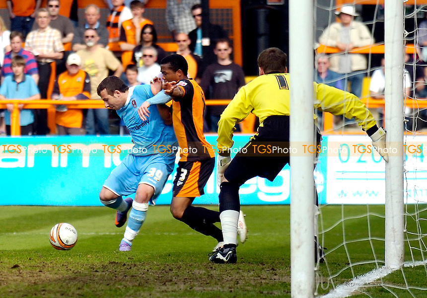 Adam Le Fondre tries to get a second goal for the Millers in the second half but is thwarted by Barnet's Kenny Gillet - Barnet vs Rotherham United - Coca Cola League Two Football at Underhill - 24/04/10 - MANDATORY CREDIT: Anne-Marie Sanderson/TGSPHOTO - Self billing applies where appropriate - 0845 094 6026 - contact@tgsphoto.co.uk - NO UNPAID USE..