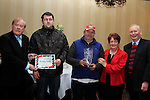 Anthony and Ollie Murphy from Pearse Park accept 4th Place Prize from Cllr. Frank Godfrey and Judges Deirdre Howard Russell and Liam Wilson at the Christmas Illumination Awards in Westcourt Hotel...Photo NEWSFILE/Jenny Matthews..(Photo credit should read Jenny Matthews/NEWSFILE)
