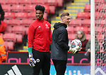 Jamal Blackman of Sheffield Utd and Simon Moore of Sheffield Utd during the championship match at the Bramall Lane Stadium, Sheffield. Picture date 28th April 2018. Picture credit should read: Simon Bellis/Sportimage