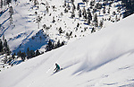 Scott Sessions enjoys 4500 vertical feet of untracked snow on the Davis Creek park run off of Mt. Rose Ski Tahoe.