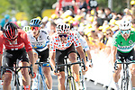"The chasing pack featuring Michael Matthews (AUS) Team Sunweb, Jasper Stuyven (BEL) Trek-Segafredo and Greg Van Avermaet (BEL) CCC Team cross the finish line 26"" down at the end of Stage 3 of the 2019 Tour de France running 215km from Binche, Belgium to Epernay, France. 8th July 2019.<br /> Picture: Colin Flockton 