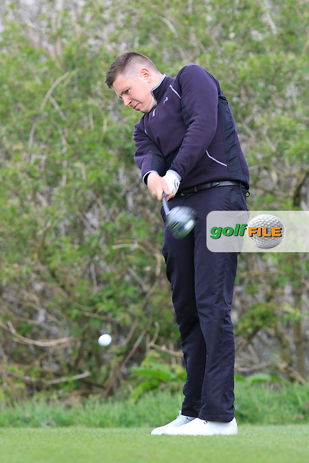 Eoghan McKeever (Castle) on the 15th tee during day 1 of The Munster Youths' Amateur Open Championship in Dungarvan Golf Club on Wednesday 23nd April 2014.<br /> Picture:  Thos Caffrey / www.golffile.ie