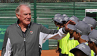 December 8th 2016, Culcutta, INDIA; Tony Roche, former Australian tennis coach, with trainees of the Jaidip Mukerjea Tennis Academy at Saltlake. Roche is here for an invitational tennis tournament in memory of his friend, the late Premjit Lal.