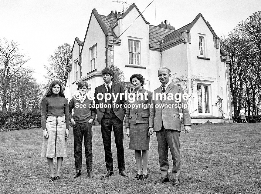 Ulster Unionist Prime Minister Brian Faulkner photographed with his family in the grounds of their home at Seaforde, Co Down, N Ireland. L to R - Claire Faulkner, Michael Faulkner, David Faulkner, Lucy Faulkner, Brian Faulkner. 188/71, 197103280188b<br /> <br /> Copyright Image from Victor Patterson,<br /> 54 Dorchester Park, Belfast, UK, BT9 6RJ<br /> <br /> t1: +44 28 90661296<br /> t2: +44 28 90022446<br /> m: +44 7802 353836<br /> <br /> e1: victorpatterson@me.com<br /> e2: victorpatterson@gmail.com<br /> <br /> For my Terms and Conditions of Use go to<br /> www.victorpatterson.com