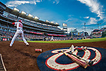 21 May 2018: Washington Nationals outfielder Juan Soto, making his first career Major League start, stands on deck against the San Diego Padres at Nationals Park in Washington, DC. The Nationals defeated the Padres 10-2, taking the first game of their 3-game series. Mandatory Credit: Ed Wolfstein Photo *** RAW (NEF) Image File Available ***