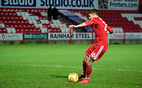 Accrington Stanley's Dan Barlaser misses during the penalty shoot out<br /> <br /> Photographer Andrew Vaughan/CameraSport<br /> <br /> The EFL Checkatrade Trophy Second Round - Accrington Stanley v Lincoln City - Crown Ground - Accrington<br />  <br /> World Copyright &copy; 2018 CameraSport. All rights reserved. 43 Linden Ave. Countesthorpe. Leicester. England. LE8 5PG - Tel: +44 (0) 116 277 4147 - admin@camerasport.com - www.camerasport.com