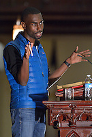 DeRay McKesson Educator and Activist in the #BlackLivesMatter movement speaks at the  Louisville Presbyterian Theological Seminary Black Church Studies, 30th Anniversary of the Louisville Grawemeyer Awards.