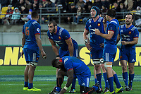 The French pack prepare for a scrum during the Steinlager Series international rugby match between the New Zealand All Blacks and France at Westpac Stadium in Wellington, New Zealand on Saturday, 16 June 2018. Photo: Dave Lintott / lintottphoto.co.nz