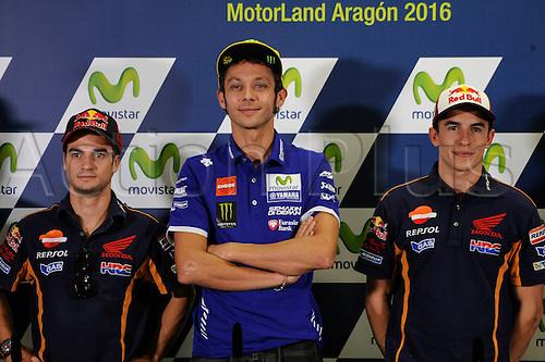 22.09.2016. Motorland Aragon, Alcaniz, Spain. Grand Prix of Aragon. Press Conference day, Dani Pedrosa, Valentino Rossi and Marc Marquez during the press conference.