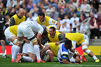 Saracens players congratulate Jamie George on his try. Aviva Premiership Final, between Bath Rugby and Saracens on May 30, 2015 at Twickenham Stadium in London, England. Photo by: Patrick Khachfe / Onside Images