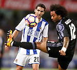 Real Sociedad's Joseba Zaldua (l) and Real Madrid's Marcelo Vieira during La Liga match. August 21,2016. (ALTERPHOTOS/Acero)