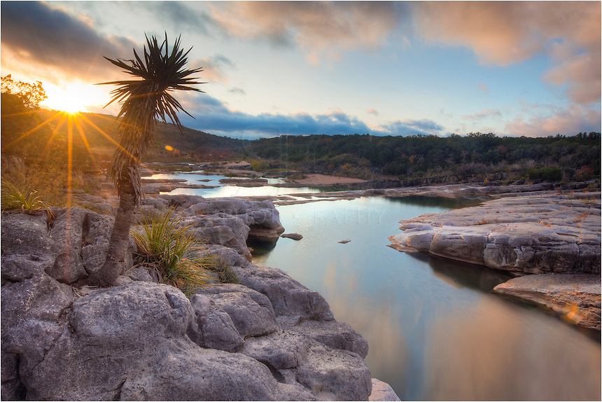 This is the moment the sun broke over the horizon at Pedernales Falls State Park. The river valley flooded with warm light and all was calm.