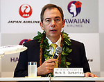 September 26, 2017, Tokyo, Japan - Hawaiian Airlines president Mark Dunkerley  announces they and Japan Airlines (JAL) agreed a comprehensive partnership at the JAL headquarters in Tokyo on Thursday, September 26, 2017. Their agreement provides for extensive code sharing, lounge access and frequent flyer program reciprocity.   (Photo by Yoshio Tsunoda/AFLO) LWX -ytd