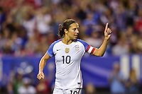 Atlanta, GA - Sunday Sept. 18, 2016: Carli Lloyd celebrates scoring during a international friendly match between United States (USA) and Netherlands (NED) at Georgia Dome.