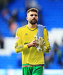 Ipswich's Bartosz Bialkowski looks on dejected at the final whistle during the Sky Bet Championship League match at The Cardiff City Stadium.  Photo credit should read: David Klein/Sportimage