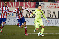 Atletico de Madrid´s Joao Miranda and Barcelona´s Andres Iniesta during 2014-15 Spanish King Cup match between Atletico de Madrid and Barcelona at Vicente Calderon stadium in Madrid, Spain. January 28, 2015. (ALTERPHOTOS/Luis Fernandez) /nortephoto.com<br />