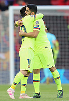 Barcelona's Lionel Messi (left) and Luis Suarez embrace  ahead of kick-off<br /> <br /> Photographer Rich Linley/CameraSport<br /> <br /> UEFA Champions League Semi-Final 2nd Leg - Liverpool v Barcelona - Tuesday May 7th 2019 - Anfield - Liverpool<br />  <br /> World Copyright &copy; 2018 CameraSport. All rights reserved. 43 Linden Ave. Countesthorpe. Leicester. England. LE8 5PG - Tel: +44 (0) 116 277 4147 - admin@camerasport.com - www.camerasport.com