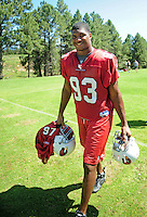 Jul 30, 2008; Flagstaff, AZ, USA; Arizona Cardinals defensive end Calais Campbell during training camp on the campus of Northern Arizona University. Mandatory Credit: Mark J. Rebilas-