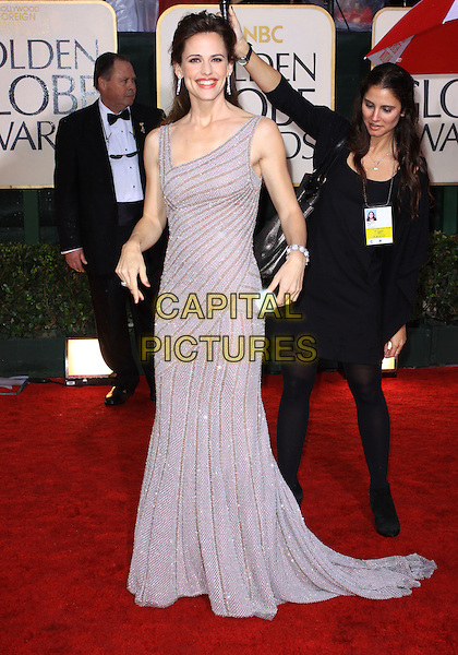 JENNIFER GARNER .67th Golden Globe Awards held Beverly Hilton, Beverly Hills, California.17th January 2010..arrivals globes full length silver grey gray beaded dress gown long maxi .CAP/ADM/KB.©Kevan Brooks/Admedia/Capital Pictures