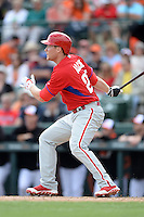 Philadelphia Phillies third baseman Cody Asche (25) during a spring training game against the Baltimore Orioles on March 7, 2014 at Ed Smith Stadium in Sarasota, Florida.  Baltimore defeated Philadelphia 15-4.  (Mike Janes/Four Seam Images)