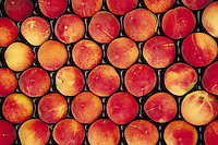 Peaches on display at the market, agriculture, fruit, food,. France.