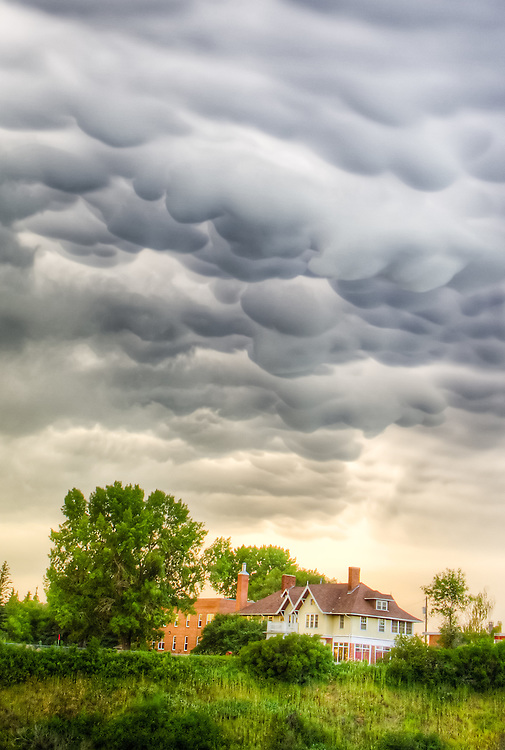 Storm clouds over a house