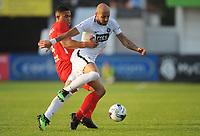 Connah's Quay Nomads' Priestley Farquharson vies for possession with Partizan Belgrade's Nemanja Miletic<br /> <br /> Photographer Kevin Barnes/CameraSport<br /> <br /> UEFA Europa League 2nd Qualifying Round 1st Leg - Connah's Quay Nomads v Partizan Belgrade - Thursday July 25th 2019 - Belle Vue Stadium - Rhyl<br />  <br /> World Copyright © 2019 CameraSport. All rights reserved. 43 Linden Ave. Countesthorpe. Leicester. England. LE8 5PG - Tel: +44 (0) 116 277 4147 - admin@camerasport.com - www.camerasport.com