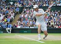 Andy Murrey (GBR) in action during the mens final against Milos Raonic (CAN), Wimbledon Championships 2016, Day Fourteen, All England Lawn Tennis & Croquet Club, Church Rd, London, United Kingdom - 10th July 2016