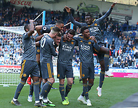 Leicester City's Jamie Vardy (4th from left) is swamped by team-mates as he celebrates scoring his second and side's fourth goal <br /> <br /> Photographer Stephen White/CameraSport<br /> <br /> The Premier League - Huddersfield Town v Leicester City - Saturday 6th April 2019 - John Smith's Stadium - Huddersfield<br /> <br /> World Copyright © 2019 CameraSport. All rights reserved. 43 Linden Ave. Countesthorpe. Leicester. England. LE8 5PG - Tel: +44 (0) 116 277 4147 - admin@camerasport.com - www.camerasport.com