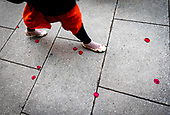 A woman in a red skirt walks on a sidewalk covered in rose pedals in downtown Washington, DC on February 14, 2019. <br /> Credit: Alex Edelman / CNP