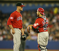March 7, 2009:  Pitcher Christopher Leroux (52) and Catcher Russell Martin (55) of Canada during the first round of the World Baseball Classic at the Rogers Centre in Toronto, Ontario, Canada.  Team USA defeated Canada 6-5 in both teams opening game of the tournament.  Photo by:  Mike Janes/Four Seam Images