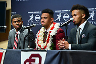New York, NY - December 8, 2018:  Dwyane Haskins, Tua Tagovailoa and Kyler Murray speak with the media during the Heisman Trophy Award announcement at the New York Marriott hotel December 8, 2018.  (Photo by Don Baxter/Media Images International)